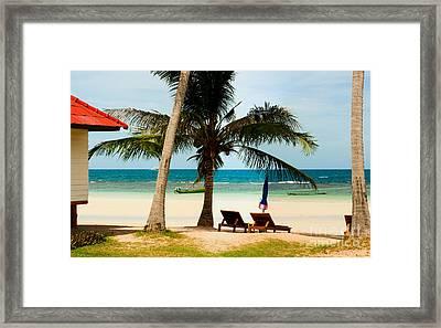 Bungalow On Paradise Island Framed Print