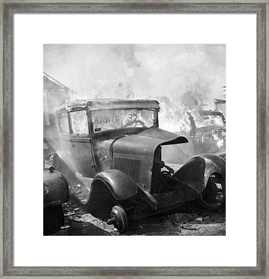 Burning Car Circa 1942  Framed Print