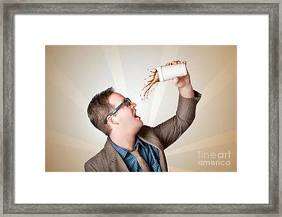 Business Man Drinking A Quick Coffee On The Go Framed Print by Jorgo Photography - Wall Art Gallery