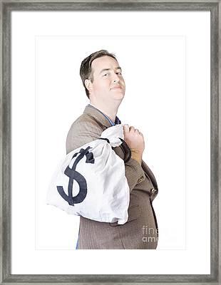 Business Man Getting Interest Free Loan Framed Print