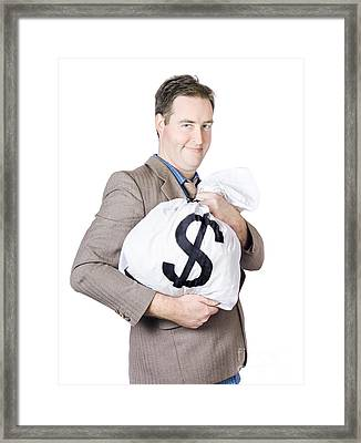 Business Man Holding Money Bag With Dollar Sign Framed Print by Jorgo Photography - Wall Art Gallery