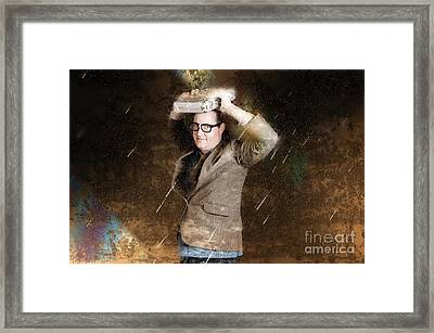 Business Man In Bad Weather Storm. Crisis Concept Framed Print by Jorgo Photography - Wall Art Gallery