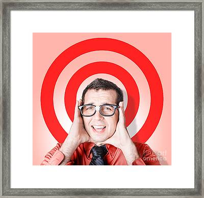 Business Man In Fear On Target Background Framed Print