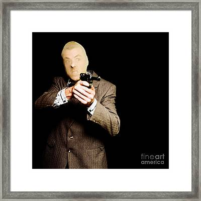 Business Man Or Corporate Crook Holding Gun Framed Print