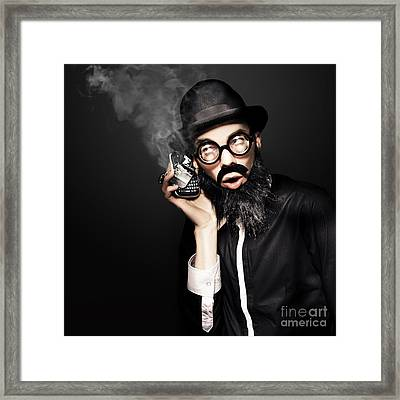 Business Man Talking On Broken Smart Mobile Phone Framed Print by Jorgo Photography - Wall Art Gallery
