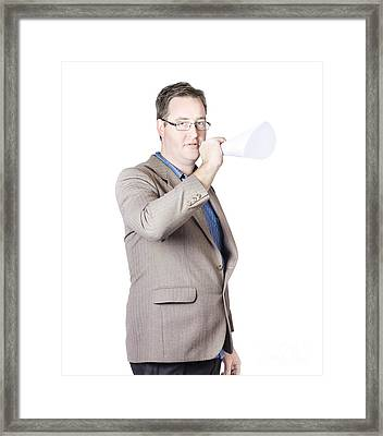 Business Man With Megaphone Framed Print