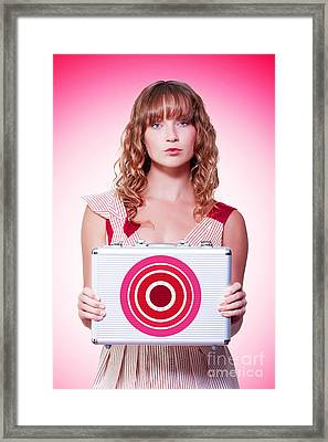 Business Person Holding Target Symbol Briefcase  Framed Print by Jorgo Photography - Wall Art Gallery
