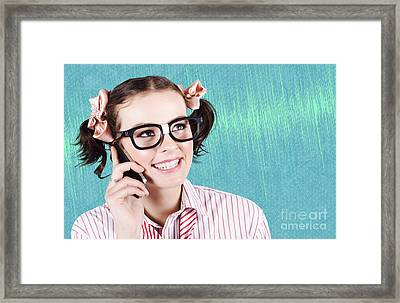 Business Person On Wireless Infrared Smartphone Framed Print by Jorgo Photography - Wall Art Gallery