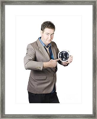 Business Person Pointing To Time On Office Clock Framed Print by Jorgo Photography - Wall Art Gallery