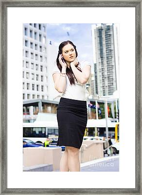 Business Person Talking On Mobile Phone In Street Framed Print by Jorgo Photography - Wall Art Gallery
