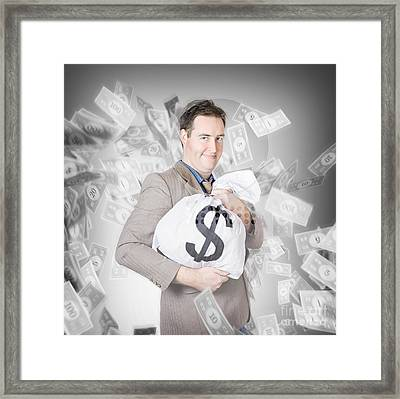 Business Person With Money Sack. Financial Success Framed Print