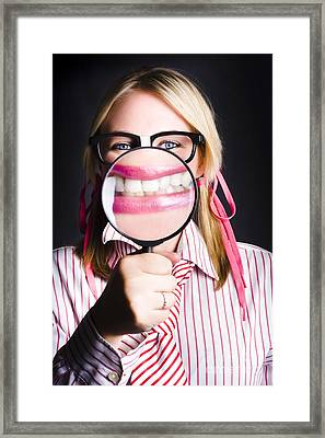Business Person With Work Dental Health Cover Framed Print by Jorgo Photography - Wall Art Gallery