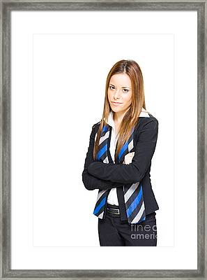 Business Professional Isolated On White Background Framed Print
