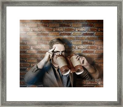 Business Spy Looking Through Innovative Binoculars Framed Print