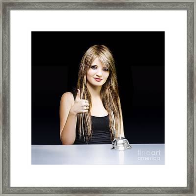Business Woman At Desk With Thumbs Up On Black Framed Print by Jorgo Photography - Wall Art Gallery