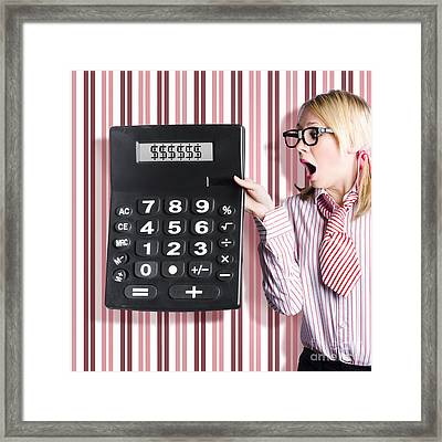 Business Woman Holding Money Savings Calculator Framed Print by Jorgo Photography - Wall Art Gallery