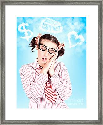 Business Woman In A Money House And Love Dream Framed Print by Jorgo Photography - Wall Art Gallery