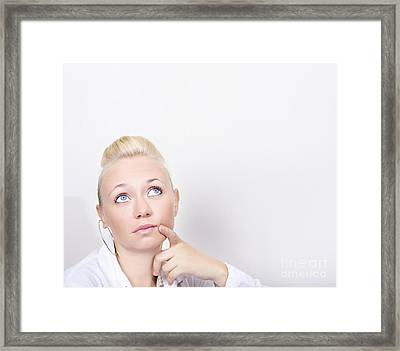 Business Woman In Thought Look To Wall Copy Space Framed Print