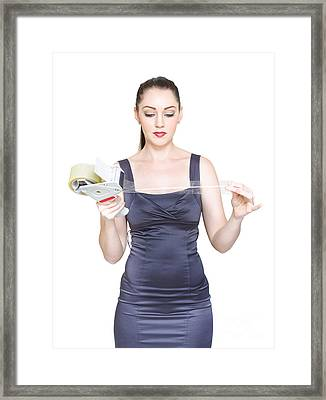 Business Woman Sealing And Packaging Business Deal Framed Print
