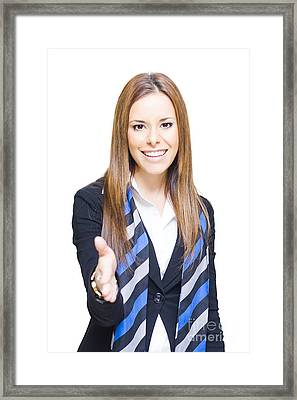 Business Woman Shaking Hands Over A Business Deal Framed Print