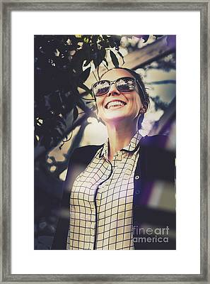 Business Woman Standing Outdoors Looking Excited Framed Print