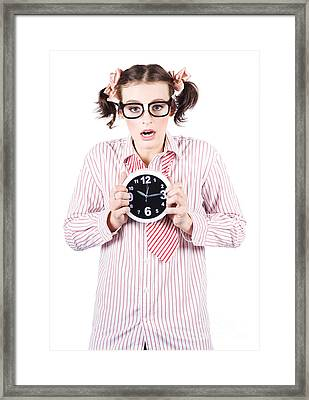 Business Woman Under Stress Holding Alarm Clock Framed Print by Jorgo Photography - Wall Art Gallery