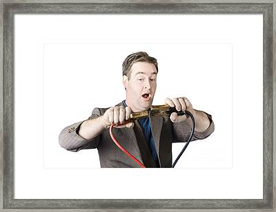 Businessman About To Connect Jumper Cable Framed Print by Jorgo Photography - Wall Art Gallery