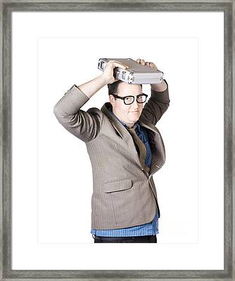 Businessman Carrying Briefcase Framed Print by Jorgo Photography - Wall Art Gallery
