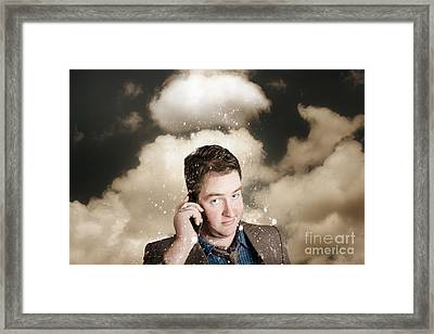 Businessman Having Bad Day. Communication Trouble Framed Print by Jorgo Photography - Wall Art Gallery