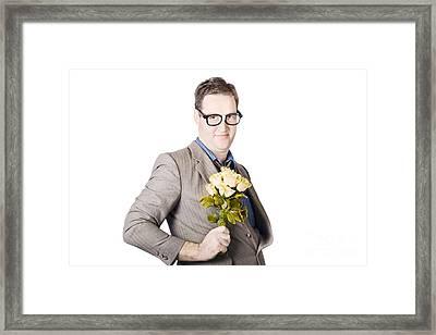 Businessman Holding Bouquet Framed Print