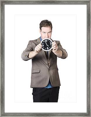 Businessman Holding Clock Framed Print by Jorgo Photography - Wall Art Gallery