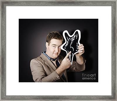 Businessman Holding Melting Clock. Time Stress Framed Print by Jorgo Photography - Wall Art Gallery