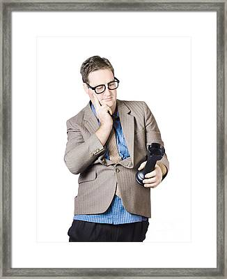 Businessman Holding Rook Framed Print