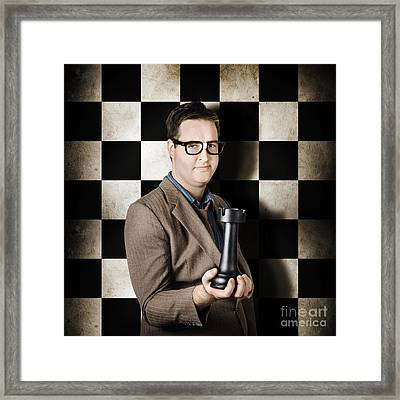 Businessman In Chess Strategy Leadership Challenge Framed Print