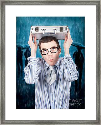 Businessman In Financial Storm. Insurance Cover Framed Print