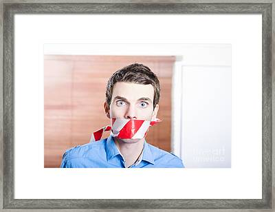 Businessman In Silence With Red Warning Tape Framed Print by Jorgo Photography - Wall Art Gallery