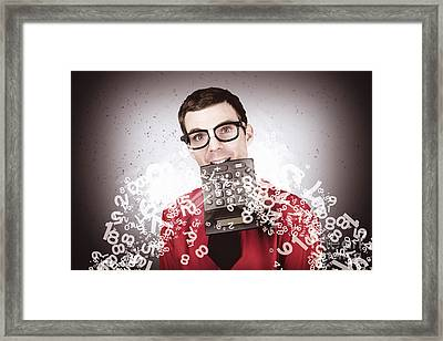 Businessman Number Crunching Tax Refund Framed Print by Jorgo Photography - Wall Art Gallery