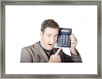 Businessman Pointing At Calculator Framed Print by Jorgo Photography - Wall Art Gallery