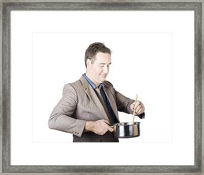 Businessman Preparing Food Framed Print