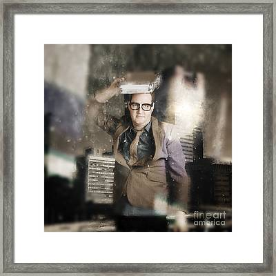 Businessman Reflecting On Morale And Ethics Framed Print