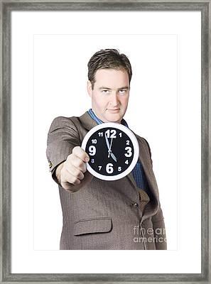 Businessman Showing Clock Framed Print by Jorgo Photography - Wall Art Gallery
