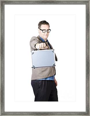 Businessman Showing His Briefcase Framed Print