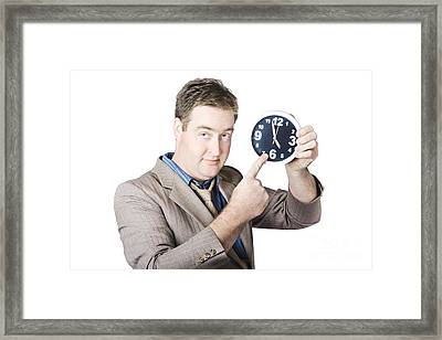 Businessman Showing Time Framed Print by Jorgo Photography - Wall Art Gallery