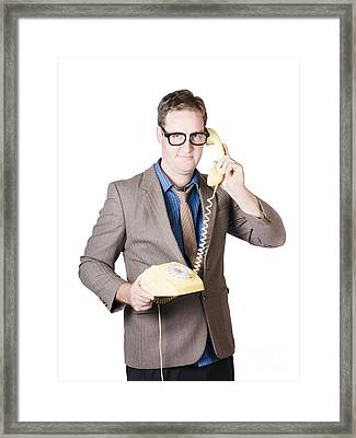 Businessman Talking On Retro Telephone Framed Print by Jorgo Photography - Wall Art Gallery