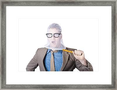 Businessman Trapped In Net Framed Print by Jorgo Photography - Wall Art Gallery
