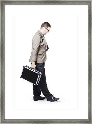 Businessman Travelling With Office Briefcase Framed Print