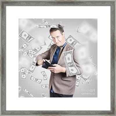 Businessman Under Falling Money. Financial Success Framed Print by Jorgo Photography - Wall Art Gallery
