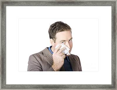 Businessman Wiping Face Framed Print by Jorgo Photography - Wall Art Gallery
