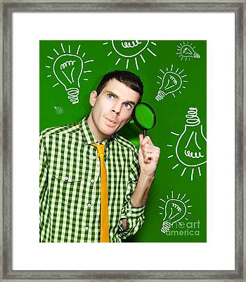 Businessman With Creative Idea On Green Background Framed Print by Jorgo Photography - Wall Art Gallery
