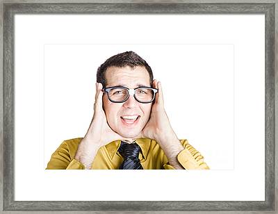 Businessman With Headache Framed Print by Jorgo Photography - Wall Art Gallery